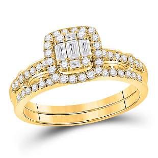 Baguette Diamond Bridal Wedding Ring Band Set 3/4 Cttw