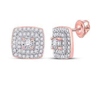 Diamond Square Earrings 1/4 Cttw 10kt Rose Gold