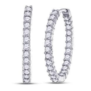 Diamond Inside Outside Hoop Earrings 3 Cttw 14kt White