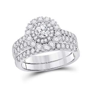 Diamond Bridal Wedding Ring Band Set 1-3/8 Cttw 14kt
