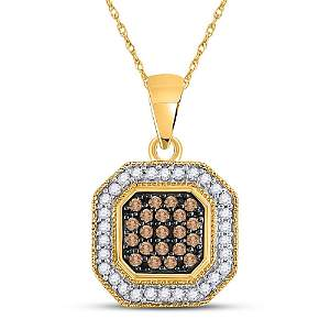 Brown Diamond Octagon Cluster Pendant 1/3 Cttw 10kt