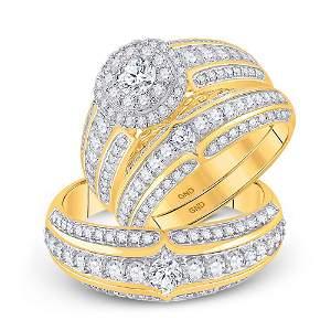 His Hers Diamond Halo Matching Wedding Set 2-1/3 Cttw