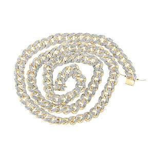 Mens Diamond Cuban Link Chain Necklace 13-1/5 Cttw 10kt