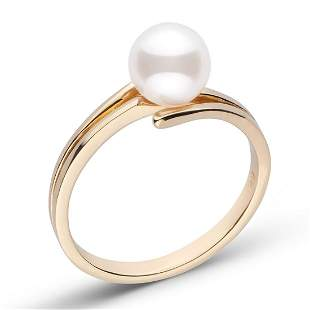 White Japanese Akoya Pearl Glance Solitaire Ring,