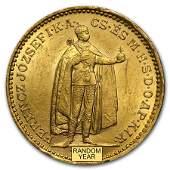 1892-1915 Hungary Gold 20 Korona XF/AU (Random)