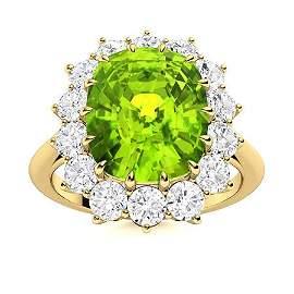 Natural 5.72 CTW Peridot & Diamond Engagement Ring 14K
