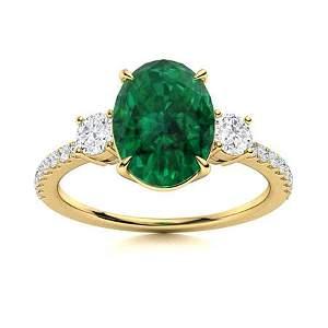 Natural 3.43 CTW Emerald & Diamond Engagement Ring 18K