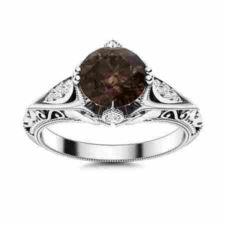 Natural 1.34 CTW Smoky Quartz & Diamond Engagement Ring