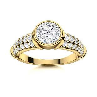 Natural 1.37 CTW Diamond Solitaire Ring 18K Yellow Gold