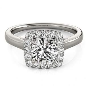 Natural 1.37 ctw Diamond Halo Ring 14k White Gold