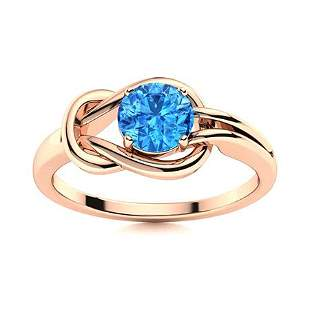 Natural 0.62 CTW Topaz Solitaire Ring 18K Rose Gold