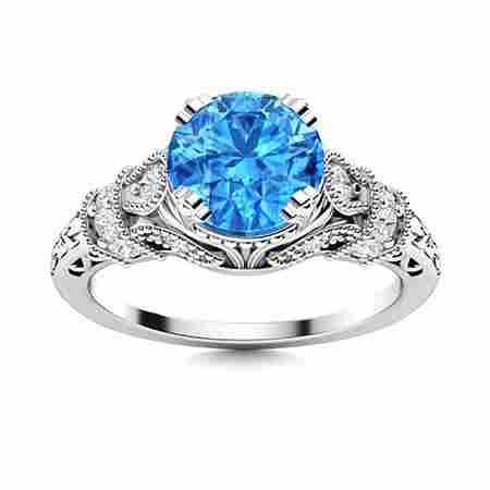 Natural 1.39 CTW Topaz & Diamond Engagement Ring 14K