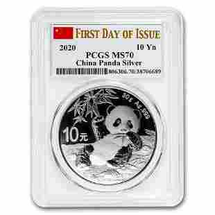 2020 China 30 gram Silver Panda MS-70 PCGS (FDoI, Flag