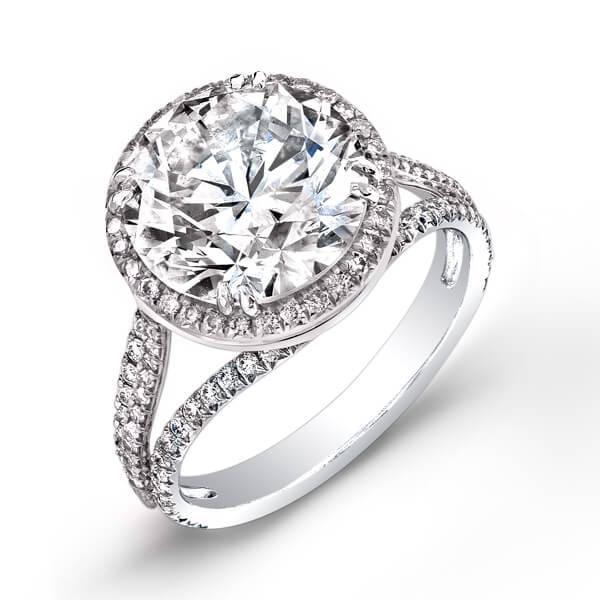 Natural 4.92 CTW Halo Round Brilliant Cut Pave Diamond