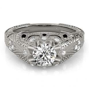 Natural 0.97 ctw Diamond Antique Ring 14k White Gold