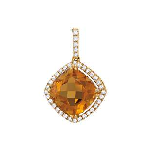 14kt Yellow Gold Womens Cushion Citrine Diamond