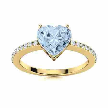 Natural 1.81 CTW Aquamarine & Diamond Engagement Ring