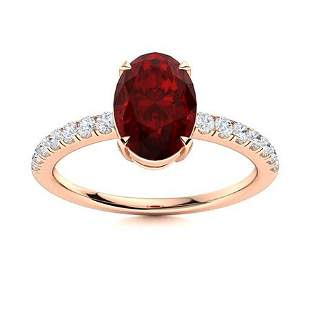 Natural 2.11 CTW Garnet & Diamond Engagement Ring 18K