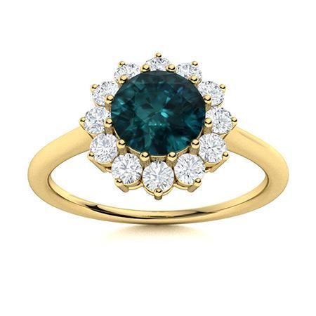 Natural 1.18 CTW Blue & White Diamond Engagement Ring
