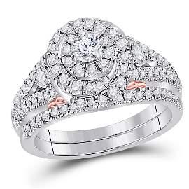 14kt Two-tone Gold Round Diamond Bridal Wedding Ring