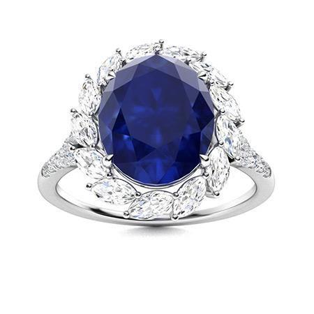 Natural 4.90 CTW Sapphire & Diamond Engagement Ring 14K