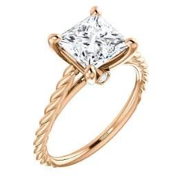 Natural 0.82 CTW Princess cut Rope Style Diamond
