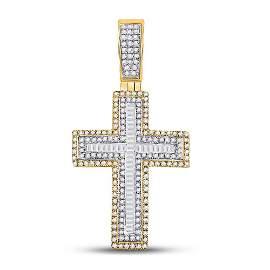 Mens Baguette Diamond Cross Charm Pendant 7/8 Cttw 10kt