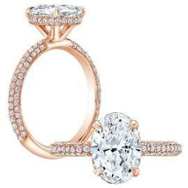 Natural 1.17 CTW Halo Oval Cut Pave Diamond Engagement