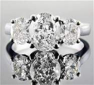 Natural 2.02 CTW 3-Stone Oval Cut Diamond Engagement