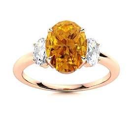 Natural 1.62 CTW Citrine & Diamond Engagement Ring 18K
