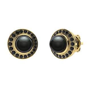 1.95 CTW Black Diamond & Black Pearl Halo Earrings 14K