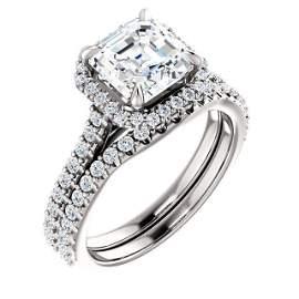 Natural 2.72 CTW Asscher Cut Halo Diamond Engagement