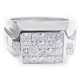 Natural 3.22 CTW Men's Diamond Ring 14KT White Gold