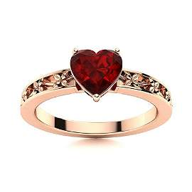 Natural 0.54 CTW Garnet Solitaire Ring 14K Rose Gold