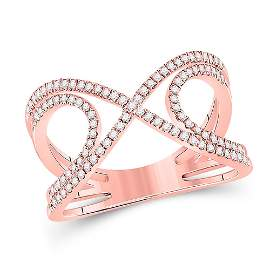 Diamond Crossover Fashion Ring 1/3 Cttw 10kt Rose Gold