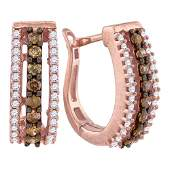 Pave Hoop Earrings 1/2 Cttw 10k Rose Gold