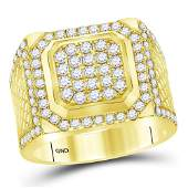 Mens Diamond Square Cluster Ring 2 Cttw 14kt Yellow