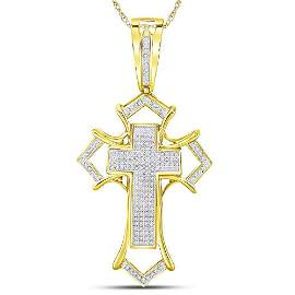 Mens Diamond Gothic Cross Charm Pendant 1/2 Cttw 10kt
