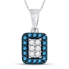 Blue Color Enhanced Diamond Rectangle Cluster Pendant