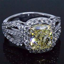 Natural 3.72 CTW Canary Cushion Cut Light Yellow Halo