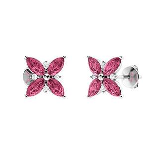 1.61 CTW Pink Tourmaline & Diamond Halo Earrings 14K