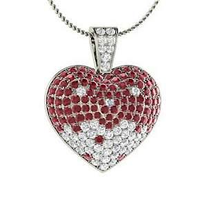 3.47 ctw Ruby & Diamond Necklace 14K White Gold