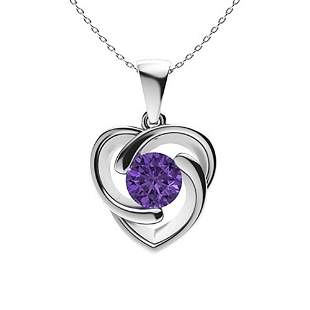 1.72 ctw Amethyst Necklace 14K White Gold