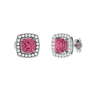 1.27 CTW Pink Tourmaline & Diamond Halo Earrings 18K