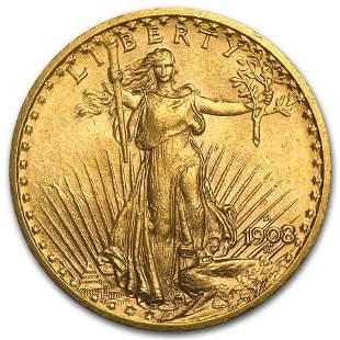 1908-D $20 Saint-Gaudens Gold Double Eagle No Motto AU