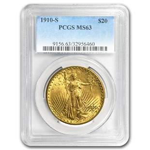 1910-S $20 Saint-Gaudens Gold Double Eagle MS-63 PCGS