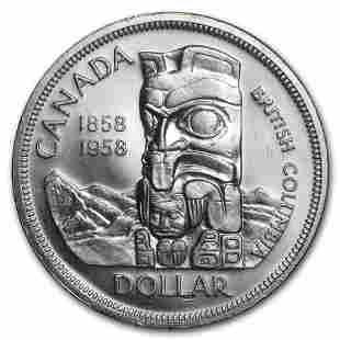 1958 Canada Silver Dollar British Columbia Totem Pole