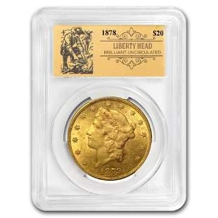 1878 $20 Liberty Gold Double Eagle BU PCGS (Prospector