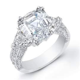 Natural 6.22 CTW Asscher Cut & Trillions Diamond