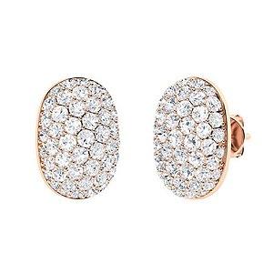 2.73 CTW White Topaz & Diamond Halo Earrings 18K Rose